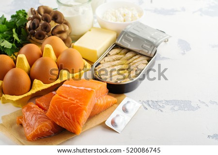 Natural sources of vitamin d. Healthy food background. Top view. Space for text #520086745