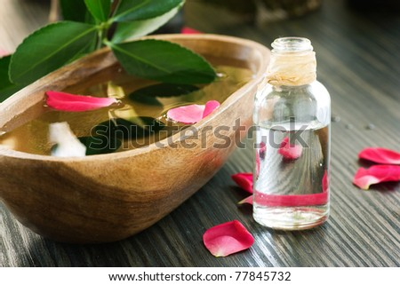 Natural spa setting with rose water.