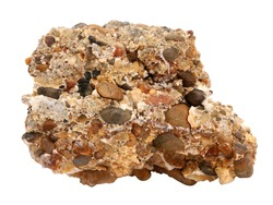 Natural specimen of conglomerate - sedimentary rock composed of rounded or sub-rounded gravel and pebbles cemented by calcium carbonate on white background