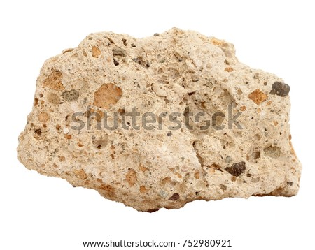 Natural specimen of Tufa limestone (travertine) - sedimentary rock, porous variety of limestone formed when carbonate minerals precipitate out of mineralized water on white background #752980921