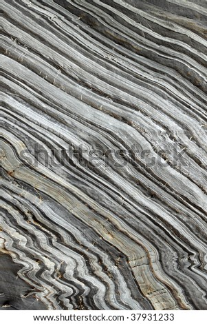 Natural striped rock in Porthleven, Cornwall UK.