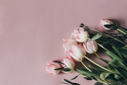 Natural styled stock photo. Feminine Easter, spring composition with tulips on pink table, wall background. Floral frame, border. Flat lay, top view. Vertical picture for blog, web banner.