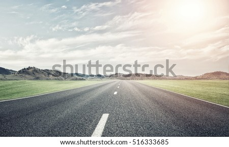 Natural summer landscape with asphalt road to horizon #516333685