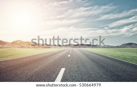 Natural summer landscape with asphalt road to horizon #530664979