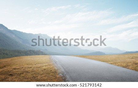 Natural summer landscape with countryside road to horizon #521793142