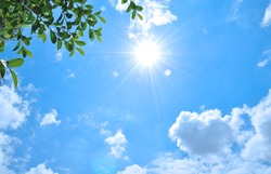 Natural sun flare with blue clouds sky and green leaves