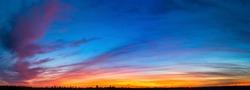 Natural Sunset. Bright Dramatic Sky And Dark Ground. Landscape Under Scenic Colorful Sky. Sun Over Skyline, Horizon. Transcarpathia and Uzhhorod. Magic Sunset. Dusk. Clouds. Panorama