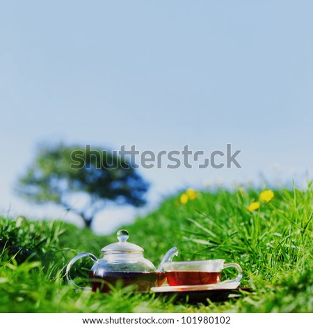 Natural tea on green grass