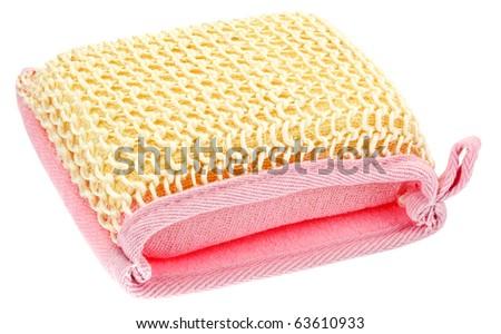 Natural textile bath sponge isolated on white - stock photo