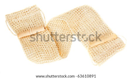 Natural textile bath sponge with rope and wooden handle