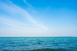 Natural tropical blue sea and sky background in Thailand.