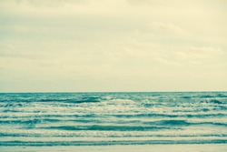 Natural tropical sea and beach with windy wave in Thailand. Retro filter