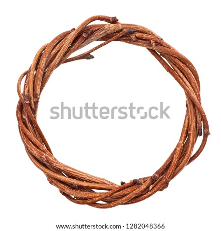 Natural twig circle, isolated on white. #1282048366