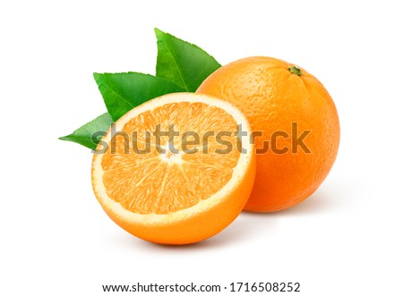Natural  Valecia orange fruit with cut in half and green leaves isolated on white background.
