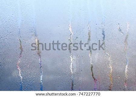 Natural water drop background. Window glass with condensation high humidity