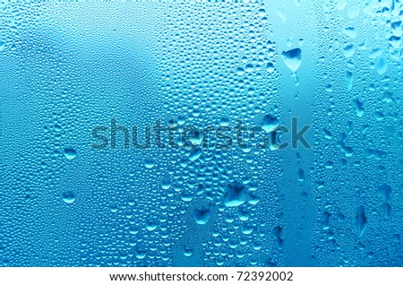 natural water drops on window glass