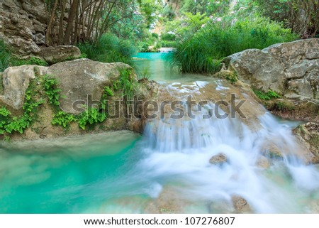 Natural waterfall and lake in Greece