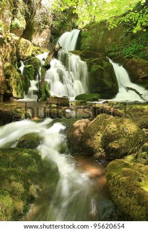 Natural waterfalls. Arroyo Valdecuevas, Cabornera, Leon.