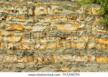 Natural wealth - many layers of rock with cracks, grass and shrubs #747248794
