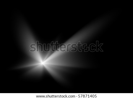 Natural white flare on black background