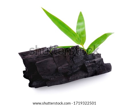 Natural wood charcoal, traditional charcoal  isolated on white background Сток-фото ©