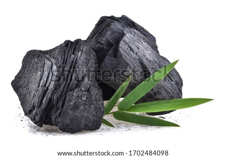 Natural wood charcoal, traditional charcoal or hard wood charcoal isolated on white background