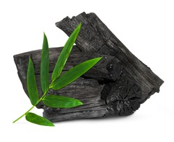 Natural wood charcoal, traditional charcoal or hard wood charcoal isolated on white background,with clipping path