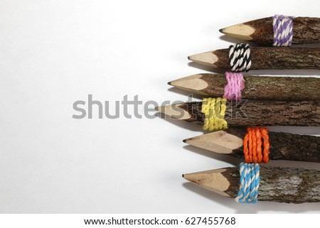 Natural wood pencils on white background #627455768
