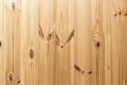 Natural wood texture for background. Pine tree timber. Vertical boards. Natural pine tree texture of light color with knots.