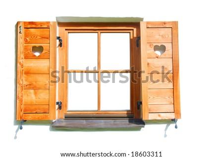 Natural wood window.