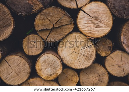 Natural wooden background - closeup of chopped firewood. Firewood stacked and prepared for winter Pile of wood logs #421657267