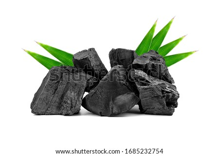Natural wooden charcoal or traditional hard wood charcoal isolated on white background. Сток-фото ©