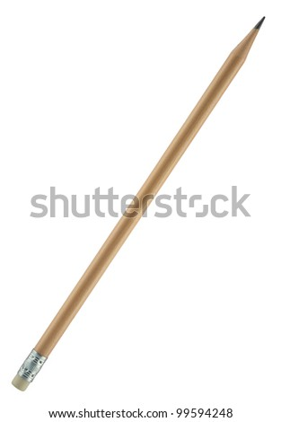 Natural wooden pencil with an attached eraser on the end of. Ideal for offices, schools, home, etc. Wooden pencil painted with transparent varnish. Object is isolated on white background.