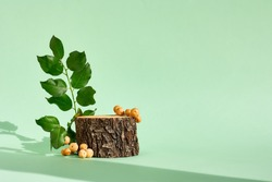 Natural wooden podium display with leaf shadow. Product presentation beige background. Cosmetics or beauty product promotion trendy minimalist mockup.