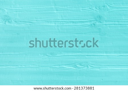 Natural wooden turquoise boards, wall or fence with knots. Abstract textured mint background, empty template #281373881