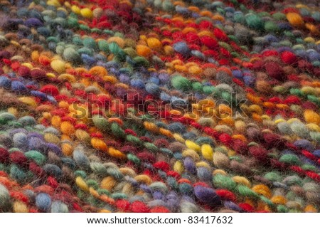 natural wool fabric with colorful hand made