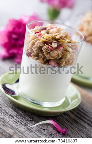 Natural yogurt with muesli in small glass