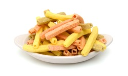 Naturally Baked Veggie Straws Made From Tomatoes, Spinach and Potatoes on white background