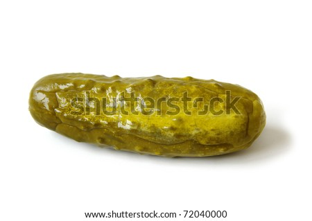Naturally Fermented Full Sour Pickle isolated on White Background