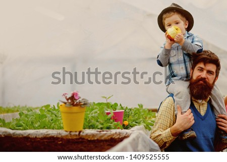 nature and beauty. nature and beauty of growing flower. nature beauty. beauty of nature with family in greenhouse #1409525555