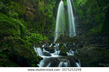 nature and fresh waterfall #1071253298