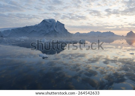 Nature and landscapes of Greenland. Unique climatic and ice region. Research of a phenomenon of global warming in polar regions of the planet.