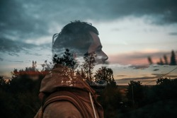 nature and man double exposure