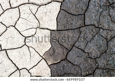 Nature Background Border Of Dry And Wet Cracked Mud Concept Opposites Dark