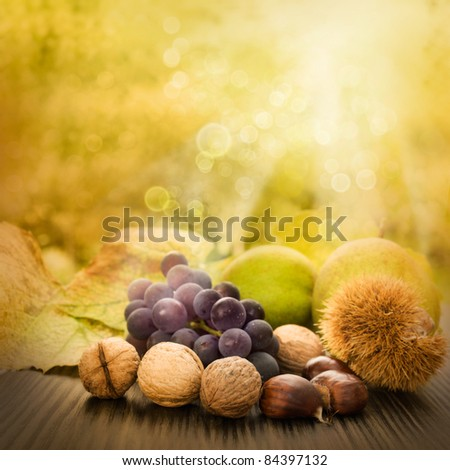 Nature background made of autumn fruit and beautiful sunlight in the back. Grapes, chestnut, vine leaf, walnuts, quince and apples. #84397132