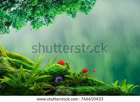nature background of mossy root and tree frame