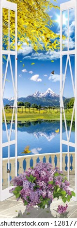Stock Photo Nature background. photo collage. window view of balcony. spring time. blossom branches. bright flowers. butterflies, birds. lake, mountains view landscape. Lilac bouqet.