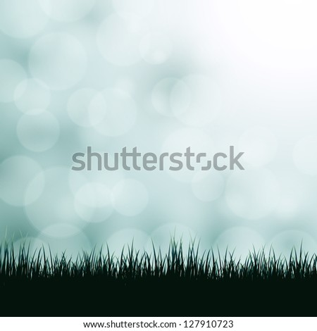 Nature background with grass and bokeh lights. Vector version also available in gallery.