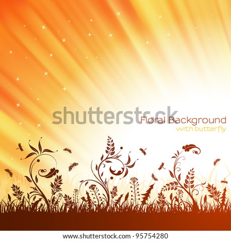 Nature background with grass, flower and butterfly, raster version