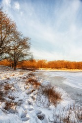 Nature Backgrounds, Dutch Winterlandscape  with frozen lake.